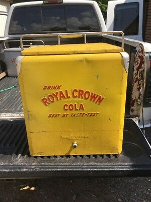 Vintage Royal Crown RC Cola Yellow Metal Cooler with Lid And Tray