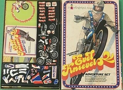 Unused Vg Vintage Original 1974 Colorforms Evel Knievel Adventure Set Complete