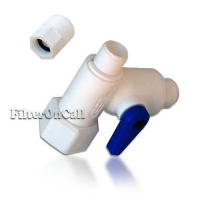 """Angle Stop Valve Feed Water Adapter Ball valve 3/8"""" or 1/2"""" OD 1/4"""" QC Lead Free"""