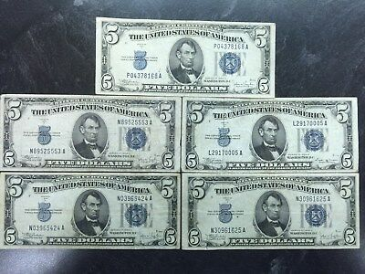 5 1934 United States $5 Dollar Silver Certificates Blue Seal Bills