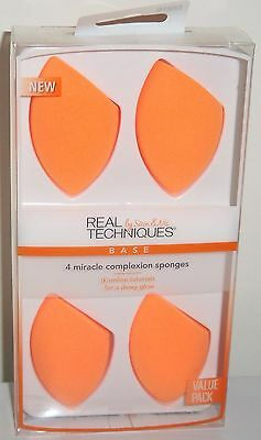 Real Techniques Sponges - (4) 3in1 MIRACLE COMPLEXION SPONGES / Brand New Boxed
