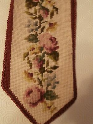 Vintage Hand embroidered Bell Pull wool Wall hanging Floral Roses Tassel