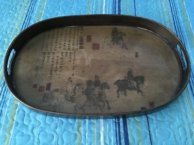 Lacquered Wooden Oval Asian Tray with Horsemen and Characters