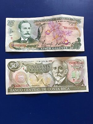 Costa Rica 1993 50 Colones Old Banknote Paper Money Currency + 1990 5 Colones