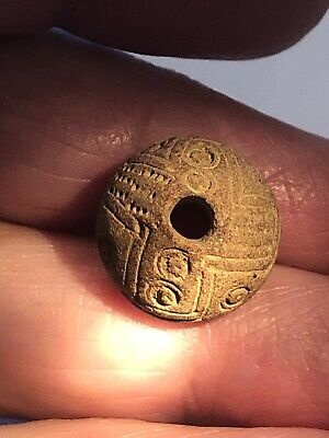 Pre-Columbian Spindle Clay Whorl Bead - Ecuador Artifact - Estate Collection