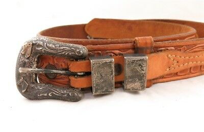 Hollands of San Angelo Sterling 14k Etched Buckle Justin Belt '66 Judging Team A