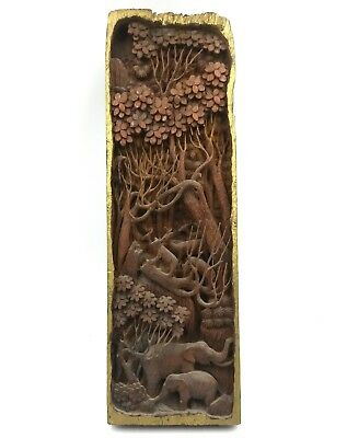 18th Century Asian Artist Wood Carving Antique Detailed Forest Scene Elephants