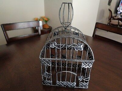 """FANCY ANTIQUED SILVER METAL BIRD CAGE 14"""" Including Topper"""