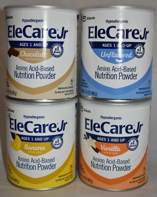 4 Cans EleCare JR Junior CHOCOLATE VANILLA UNFLAVORED & BANANA Flavors PRIORITY