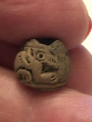 Pre-Columbian Spindle Clay Whorl Animal Bead-Ecuador Artifact-Estate Collection