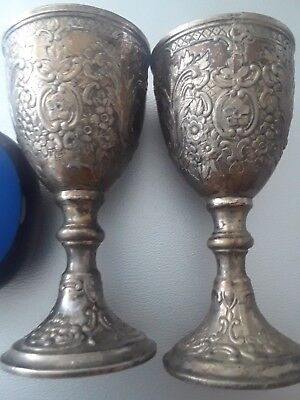 THREE 3/38 inches tall decorative (forget-me-nots) silver egg cup