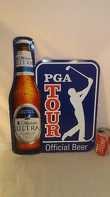 "Michelob Ultra Beer Golf 2012 PGA Sign NOS 21.5""x16"" Bud"