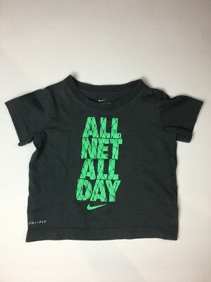 Nike Tee All Net All Day Toddlers Dri-Fit Gray Lime Green T-shirt  Size 2T
