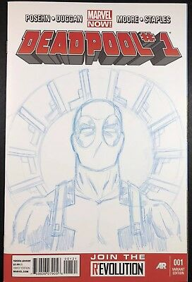 DEADPOOL #001 Marvel BLUE Sketch Cover Variant  NM+ 9.6 VERY RARE LIMITED PRINT!