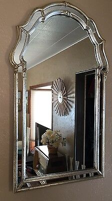 """Vintage 1960s La Barge Wall Mirror Gold Silver Gilt Double Frame 44""""x26"""" Italian"""