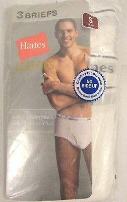 "New Hanes Mens Underwear Briefs Pack of 3 White Full Cut Small 28""-30""  (WC182)"