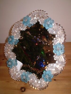 Murano 1950's Dressing Table Mirror With Attached Glass Flowers