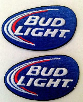 """Bud Light Beer Patches Set of 2 Iron On 2.5"""" x 1.5"""" New Old Stock"""