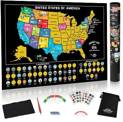 Scratch Off Map United States - USA Adventure Stickers - US Road Trip Tracker