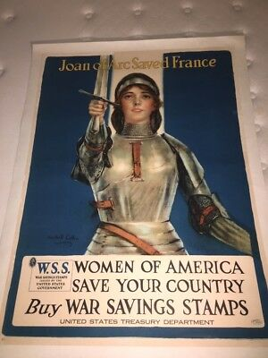 "United States, World War I Joan of Arc Poster, Circa 1918, Linen Backed, 40""x30"""