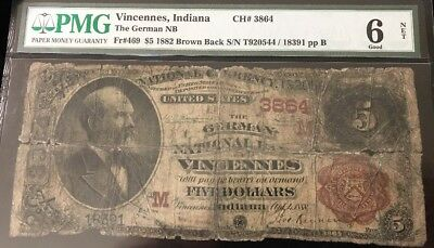 1882 $5 BB Vincennes, INDIANA Ch#3864  PMG