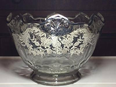 Indiana Glass #607 Double Fleur De Lis Cupped Bowl Shape E with silver overlay
