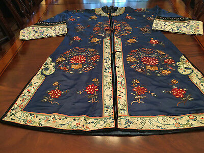 A Chinese Qing Dynasty Embroidered Textile Lady's Robe.
