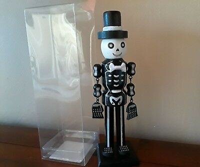 "NIB Halloween Skeleton ""Nutcracker"" Painted Wood w/ Silk Bow Tie & Moveable Arms"