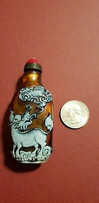 Antique Rare Chinese Collectibles Amber Peking Glass Chilong Snuff Bottle!!!