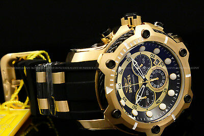 NEW Invicta Men's 50mm Bolt Chrono Black Dial Silicone Strap 18 K G.P S.S Watch