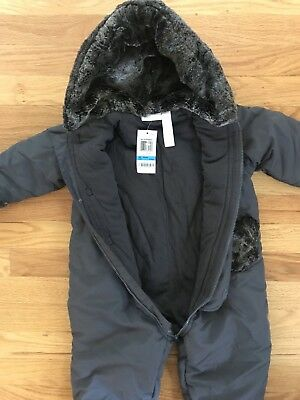 Boys One-piece Snowsuit Outerwear Gray Hooded Removable Feet 24 mos NEW W TAGS