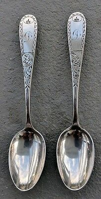 Pair Antique Old Mayflower Engraved Sterling Silver Teaspoons