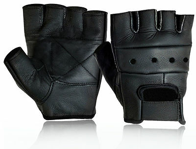 New MENS LEATHER FINGERLESS DRIVING MOTORCYCLE BIKER GLOVES  ALL SIZES