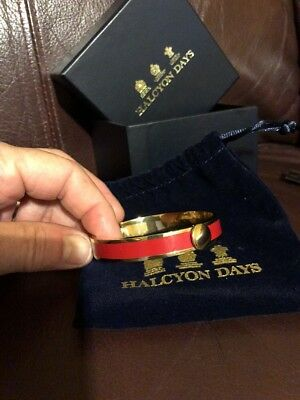 Halcyon Days Enamel Red and Gold HINGED Bangle ~ 10MM ~ EUC W/Box