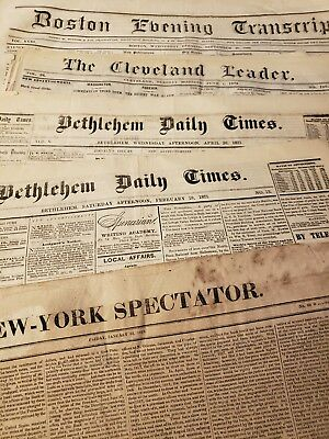 (6) Newspapers 1819-1875 Boston,NYC &Pennsylvania Great content!