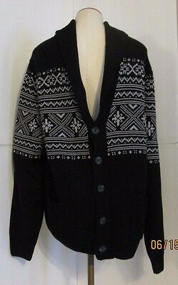 Basic Editions Mens 2Xlt Cardigan Knit Sweater Shirt Top Black White  Nwt +