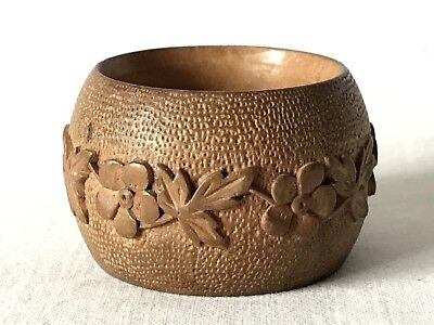 Vintage Wooden Brown Napkin Ring with Carved Floral Decoration in GC