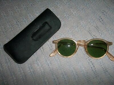 Vintage B & L Green Tinted Safety Glasses Bausch & Lomb Eyeglasses With Case