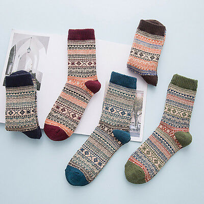 Men Women Winter Warm Long Thick Socks Ethnic Retro Geometric Pattern Hosiery