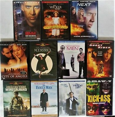 Nicolas Cage Lot ~ 11 DVDs ~ 8MM, Wicker Man, Next, Moonstruck, Ghost Rider,