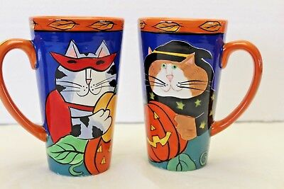 New Candace Reiter Catzilla Halloween Witch Cat Tall 20oz Latte Coffee Mug Cup