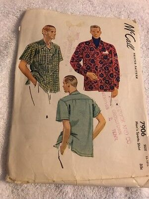 Vintage McCall's Sewing Pattern Men's Shirt 7906 Uncut 1949 Medium 15-15 1/2