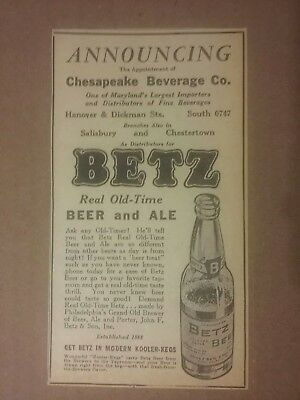 1936 Betz Real Old Time Beer & Ale Ad