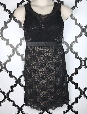 A Pea In The Pod Maternity Women's M Dress Black Lace Overlay Empire Waist Tie