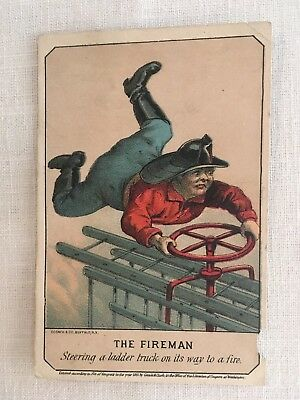 """1881 Trade Cards (from Cigar Co. Fire Brigade) entitled """"The Fireman."""""""