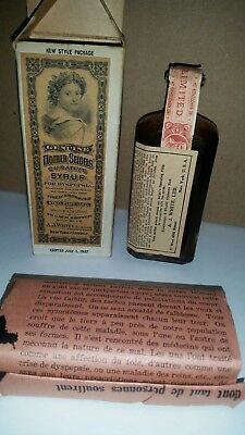 Antique Mother Seigels Curative Cough Syrup With Original Box And Instructions