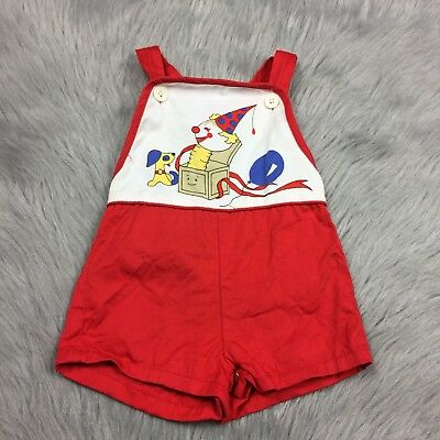 Vintage Baby Boys Montgomery Ward Red Clown Jack Box Romper