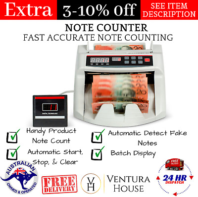 Australian Note Counter Money Cash Machine Banknote Bill Counterfeit Detector