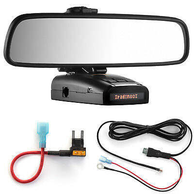 Mirror Mount + Direct Wire Power Cord + Mini Fuse Tap for Radenso XP and SP