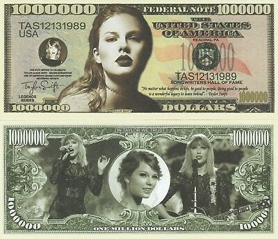 Taylor Swift Million Dollar Bill Fake Play Funny Money Novelty Note +FREE SLEEVE
